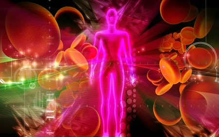 cell body: Digital illustration of  blood cell and human body in colour  background