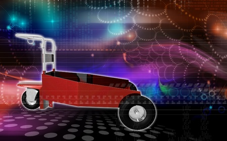 duty: Digital illustration of heavy duty trolley  in colour background