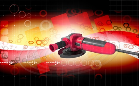 Digital illustration of angle grinder in colour background  illustration