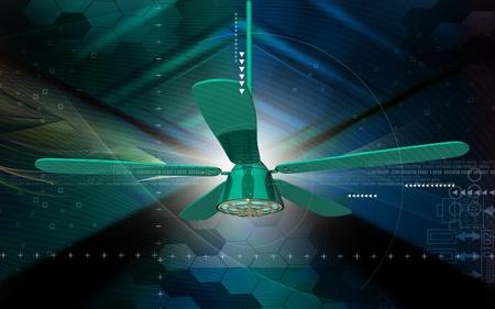 Digital illustration of ceiling fan in colour background Stock Illustration - 8364850