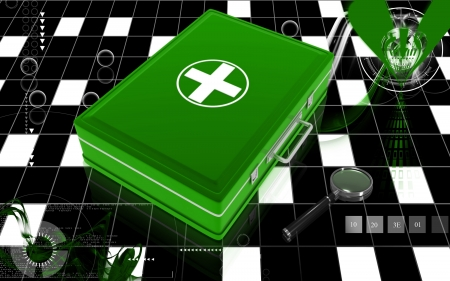 Digital illustration of First aid box  in colour background Stock Illustration - 8364890