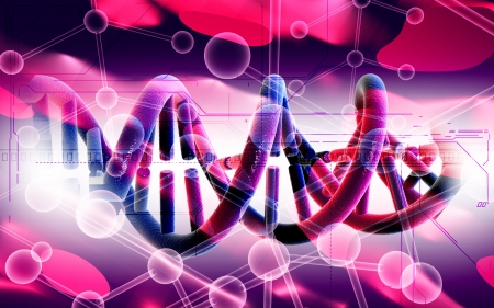 genetic: Digital illustration DNA structure in colour background