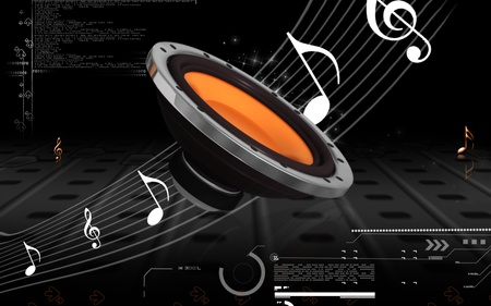 equipo de sonido: Ilustración digital estéreo de automóvil en el fondo de color