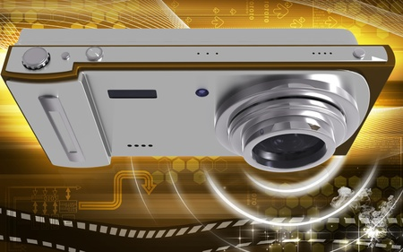 flash point: Digital illustration of camera in colour background  Stock Photo