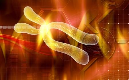 Digital illustration  of chromosome in   colour background   Stock Illustration - 8546718
