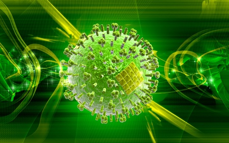 influenza: Digital  illustration  of influenza virus in   colour background
