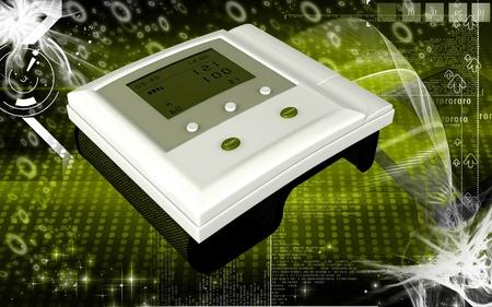 hypertensive: Digital illustration of  blood pressure monitor in colour  background   Stock Photo