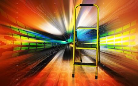 Digital illustration of ladder in colour background  illustration