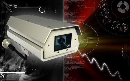 surveillance: Digital illustration of security camera in colour background