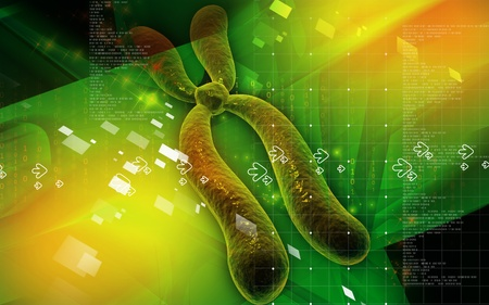 Digital illustration  of chromosome in   colour background   Stock Illustration - 8663517
