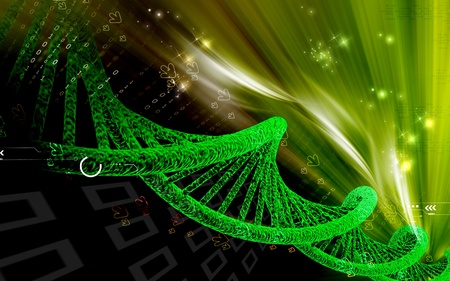 genetics: Digital illustration DNA structure in colour background