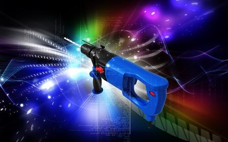 Digital illustration of hammer drill in colour  background  illustration