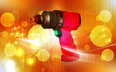 impact tool: Digital illustration of impact wrench in colour background  Stock Photo