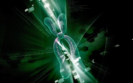 Digital illustration  of chromosome in   colour background   Stock Illustration - 8742627
