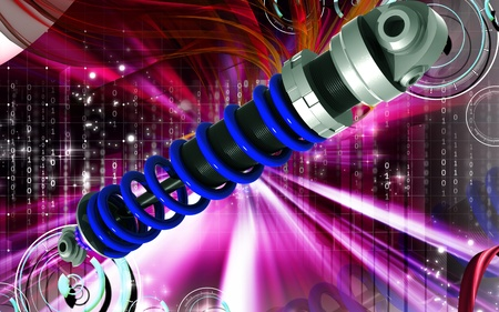 Digital illustration of Shock absorber in colour background illustration