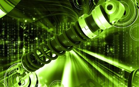 Digital illustration of Shock absorber in colour background Stock Illustration - 8757807