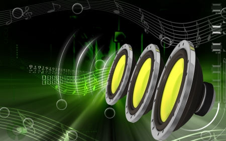 Digital illustration of car stereo in colour background