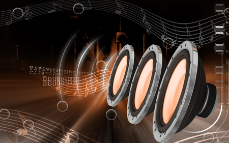 audio speaker: Digital illustration of car stereo in colour background