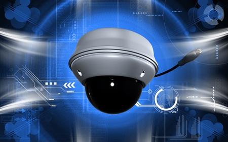 Digital illustration of security camera in colour background  illustration