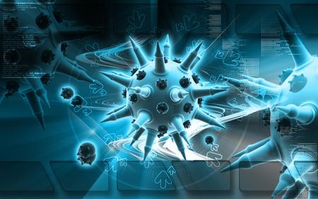 Digital illustration of  Flu virus in colour  background Stock Illustration - 8933461