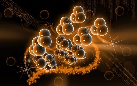 Digital illustration DNA structure  in colour background   Banco de Imagens