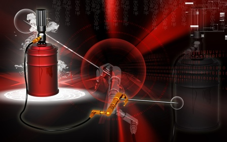 grease: Digital illustration of air grease pump in colour background