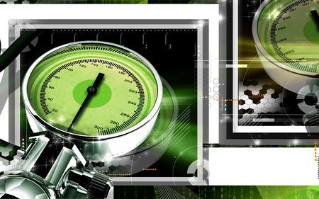 Digital illustration of sphygmomanometer in colour background  Stock Illustration - 9020573