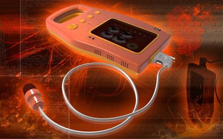 Digital illustration of palm bladder scanner in colour background