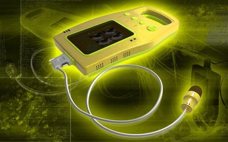 Digital illustration of palm bladder scanner in colour background   illustration
