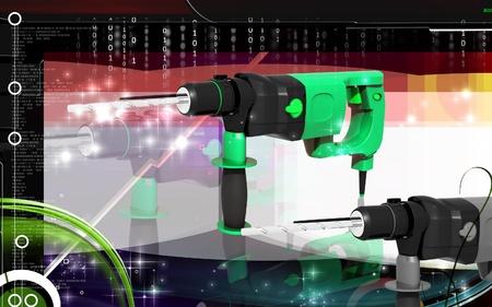 Digital illustration of hammer drill in colour background Stock Illustration - 9020599