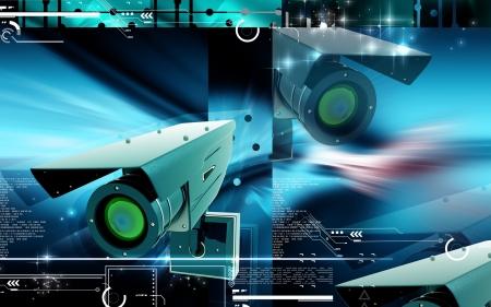 Digitální ilustrace bezpečnostní kamery v barvě pozadí