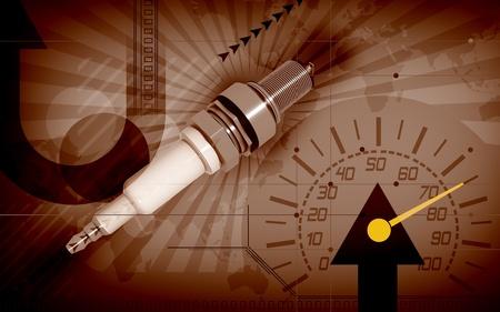 Digital illustration of Spark plug in colour background   illustration