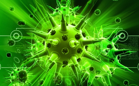 Digital illustration of  Flu virus in colour  background  Stock Illustration - 9089093