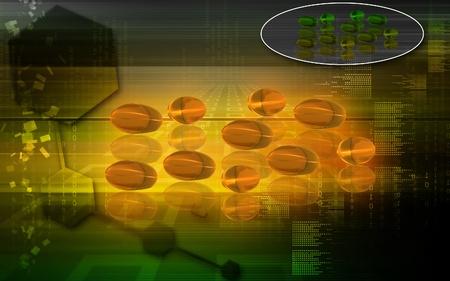 Digital illustration of liver code capsule in colour background Stock Illustration - 9089120