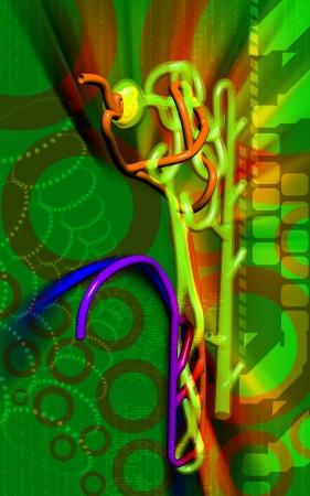 Digital illustration of  nephron   in  colour background  illustration
