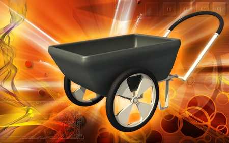 wheel barrow: Digital illustration of  a Wheel barrow in colour background   Stock Photo