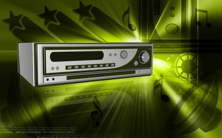 Digital illustration of cd player in colour background   illustration