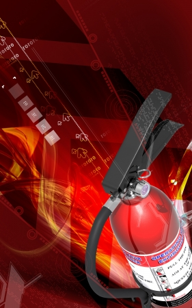 Digital illustration of fire extinguisher in colour background Stock Illustration - 9089243