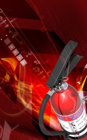 incendio casa: Ilustraci�n digital de extintor de incendios en el fondo de color