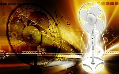 Digital illustration of  a pedestal fan in colour background Stock Illustration - 9324694