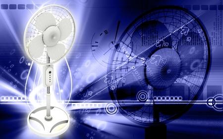 Digital illustration of  a pedestal fan in colour background Stock Illustration - 9324692