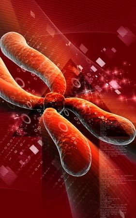 Digital illustration  of chromosome in   colour background Stock Illustration - 9339920