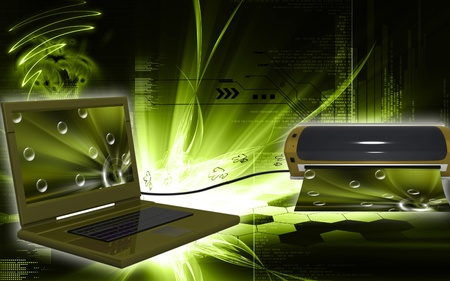 Digital illustration of lap top and Laminator in colour background  illustration