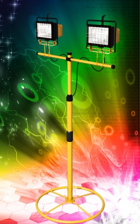 Digital illustration of  a flood light in colour background Stock Illustration - 9382433