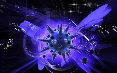 Digital illustration of  Flu virus in colour  background   illustration