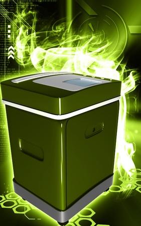 rectangulo: Ilustraci�n digital de un triturador de tarjeta en el fondo de color