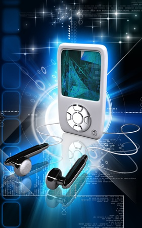 pod: Digital illustration of an I Pod in colour background  Stock Photo