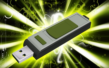pen drive: Digital illustration of  a pen drive   in background   Stock Photo