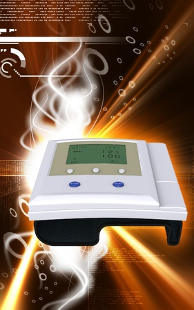 Digital illustration of  blood pressure monitor in colour  background Stock Illustration - 9444382