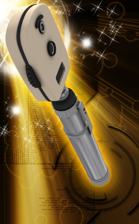 Digital illustration of ophthalmoscope in colour background   illustration